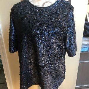 Ann Taylor XL Black Sequin Top
